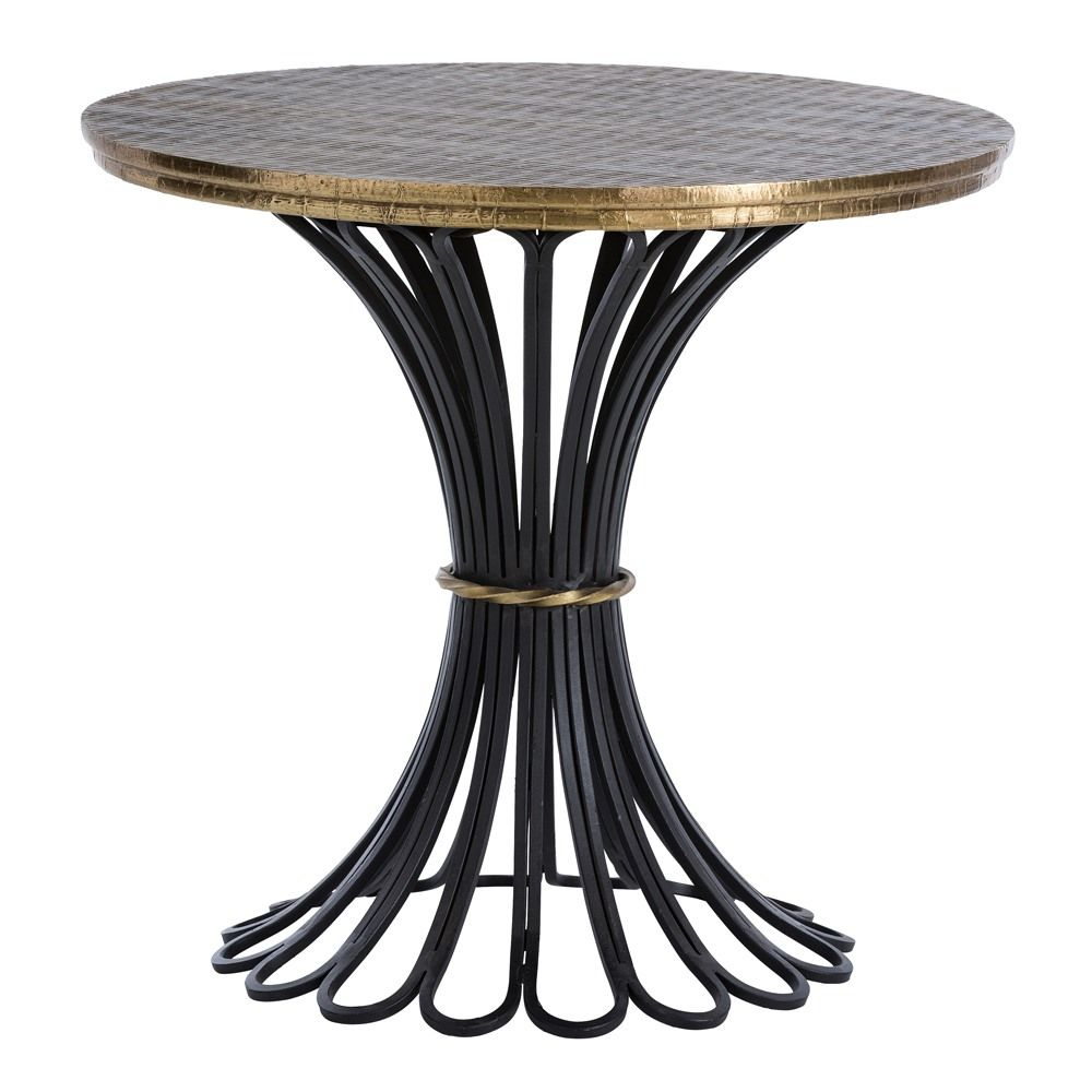 arteriors draco accent table round dia black looped pedestal base gold finish belt white antique brass top darkfinish outdoor furniture pottery barn graphers floor lamp sofa lamps
