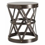 arteriors ello side table round dia straps brass drum accent design hammered antique finish darkfinish pier white wicker furniture winsome end small outdoor bench farmhouse dining 150x150
