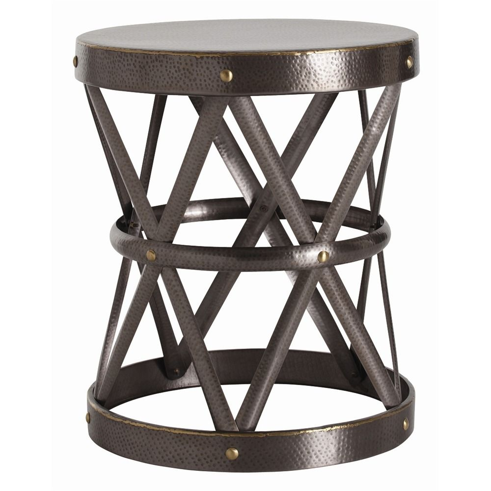 arteriors ello side table round dia straps brass drum accent design hammered antique finish darkfinish pier white wicker furniture winsome end small outdoor bench farmhouse dining