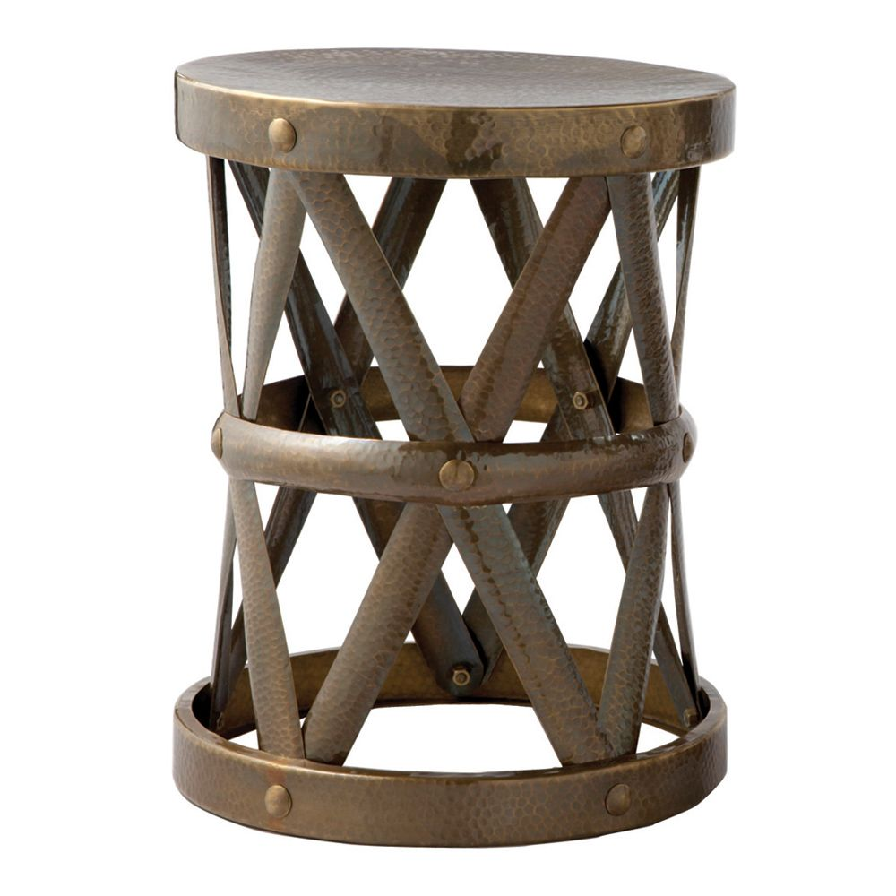 arteriors ello vintage brass accent table zinc door pottery barn frog drum tool cabinet wooden patio furniture sets glass center gold circle coffee round cover galvanized metal