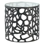 arteriors ennis modern black metal web glass side end table product drum accent kathy kuo home large round chair total furniture skinny inch hairpin legs battery powered led lamps 150x150