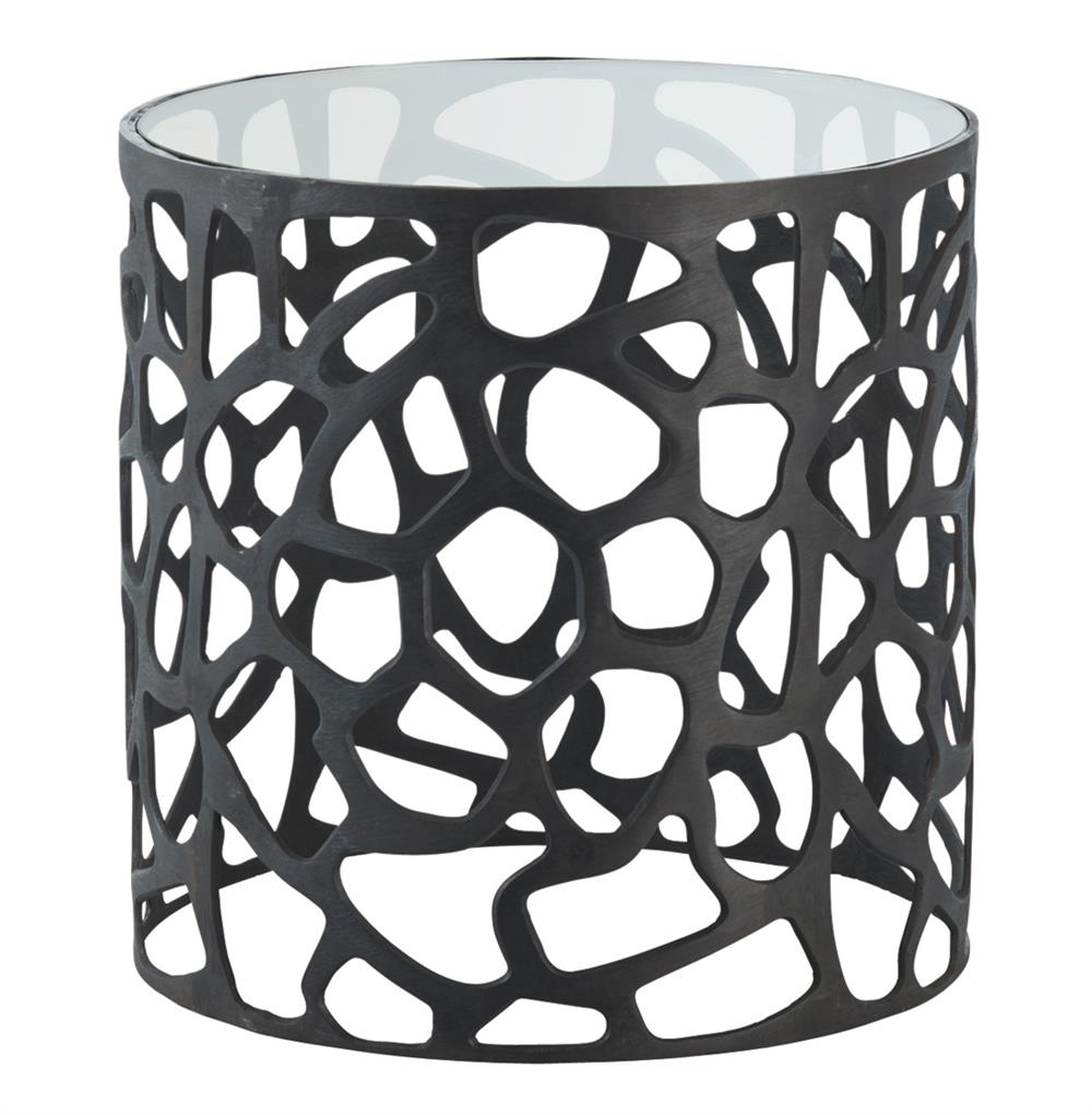 arteriors ennis modern black metal web glass side end table product drum accent kathy kuo home large round chair total furniture skinny inch hairpin legs battery powered led lamps