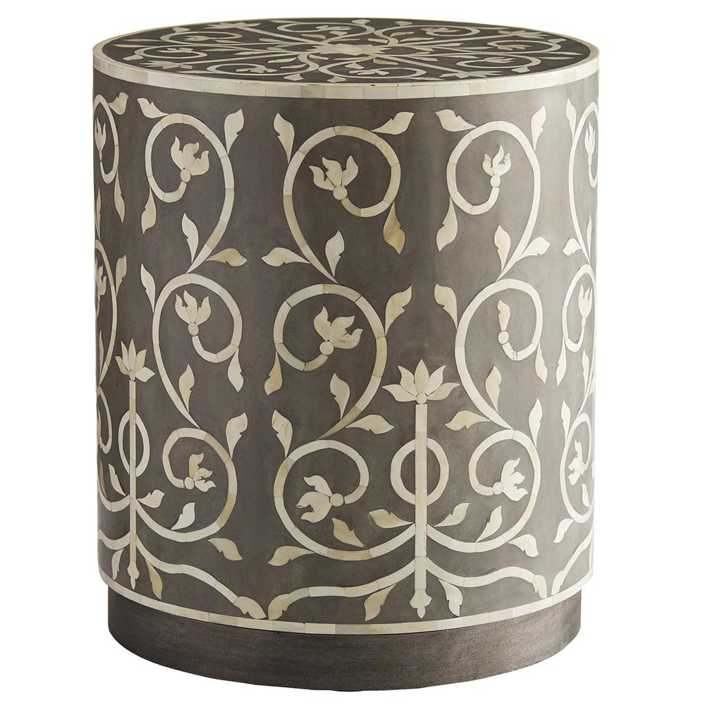 arteriors joanna bone inlay drum accent table shabby chic furniture ikea lack shelf vintage end adjustable coffee small asian lamps outdoor folding chairs bobs clearance white