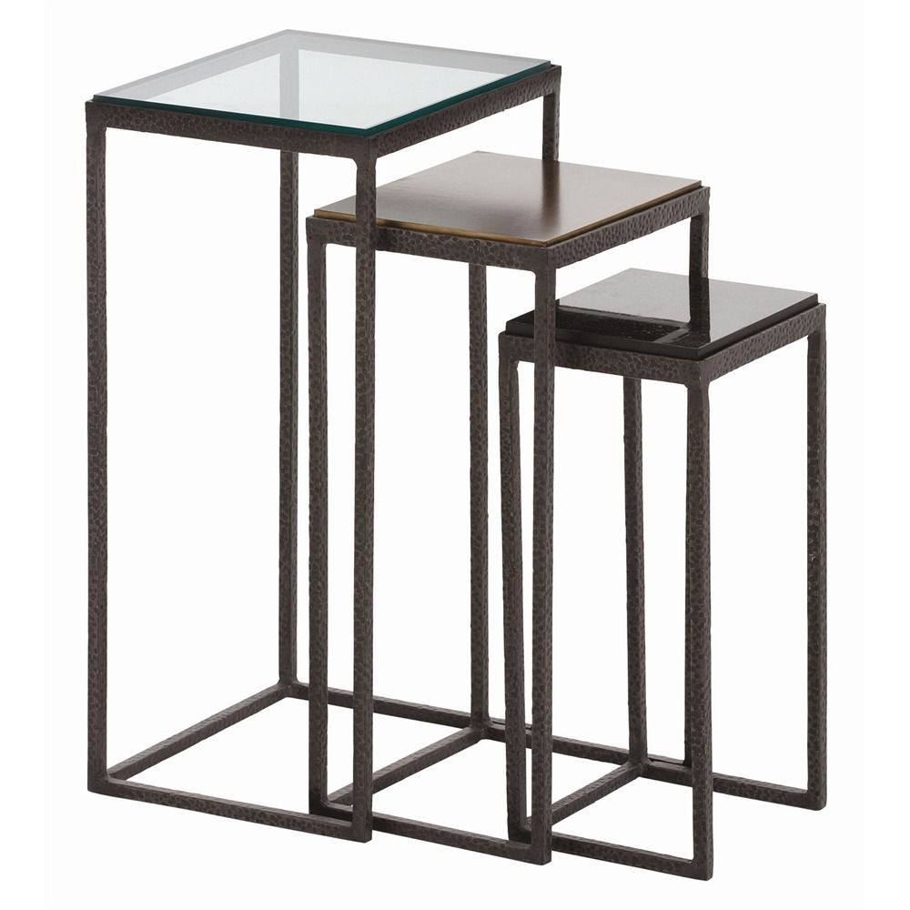 arteriors knight small accent tables set nesting table hammered iron frames clear glass oxidized brass black marble drum with drawers vinyl tablecloth storage trunk outdoor stone