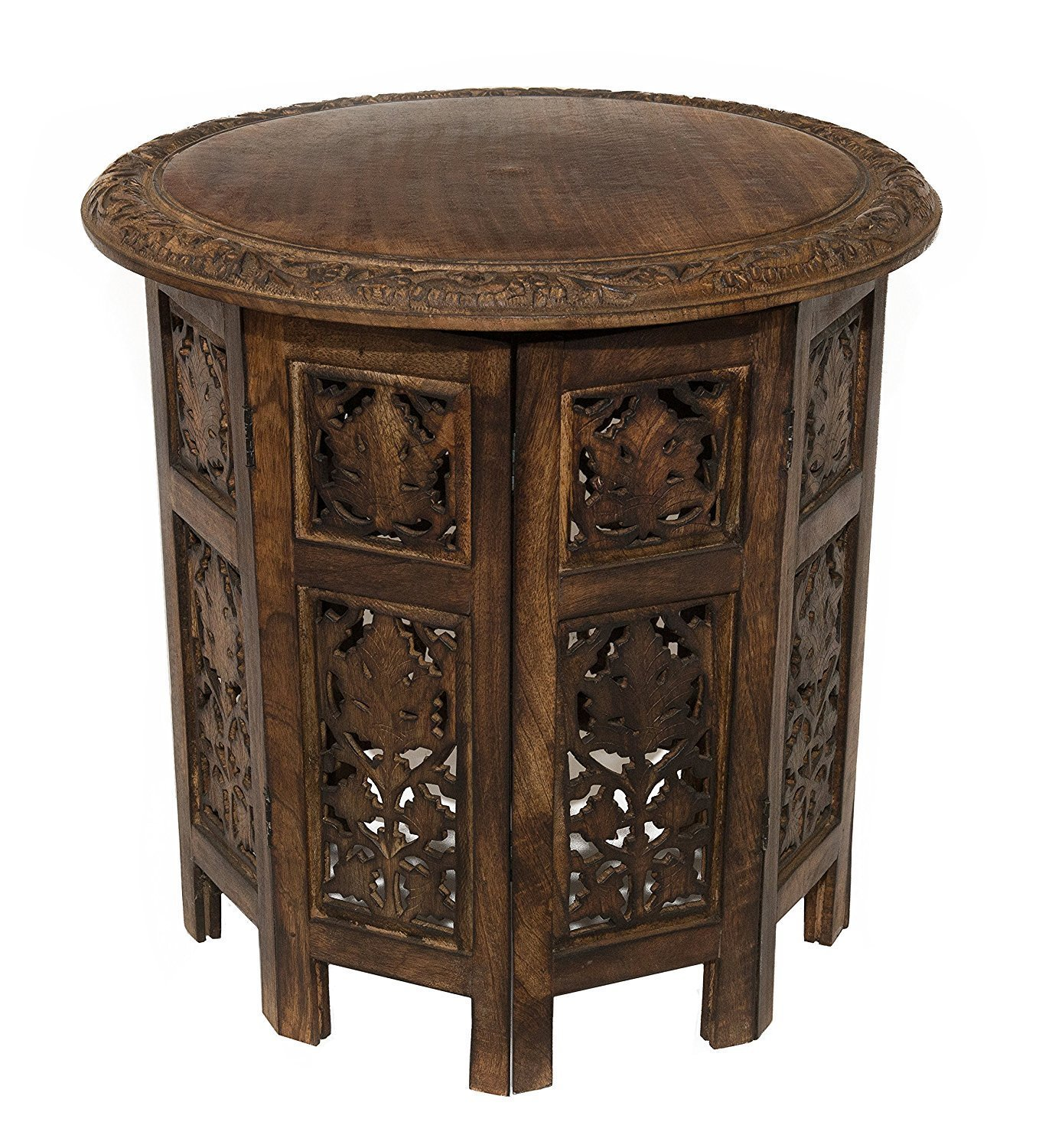 artesia solid wood hand carved rajasthan folding accent low height table coffee inch round top high brown kitchen dining bar furniture modern and metal farmhouse style antique