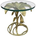 arthur court lily leaf gold flower side end table round glass top master butterfly accent cast aluminum oval cover reading chair for bedroom high set unique home decor small drop 150x150