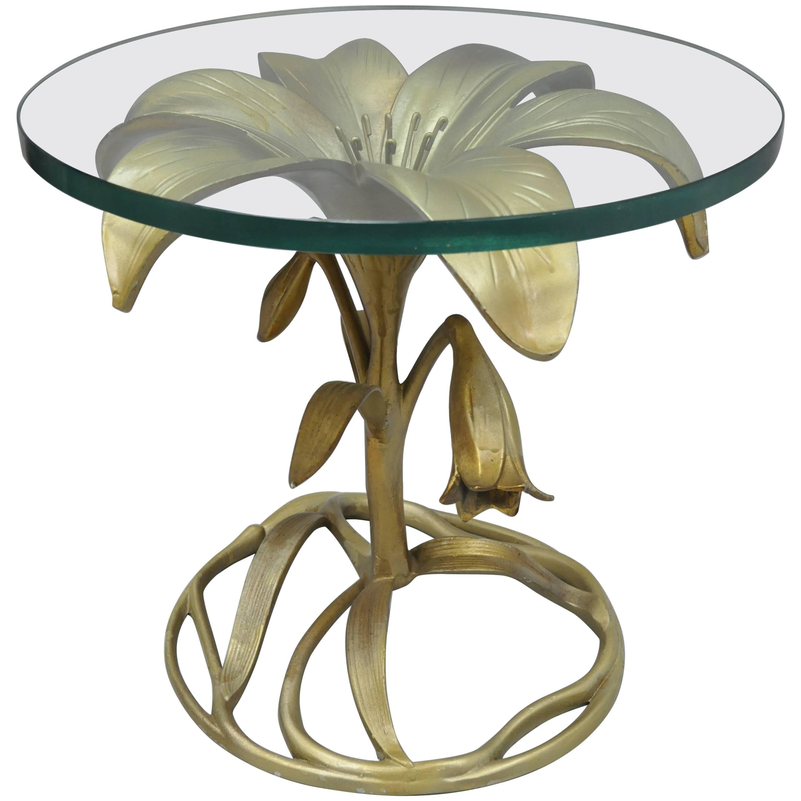 arthur court lily leaf gold flower side end table round glass top master butterfly accent cast aluminum oval cover reading chair for bedroom high set unique home decor small drop