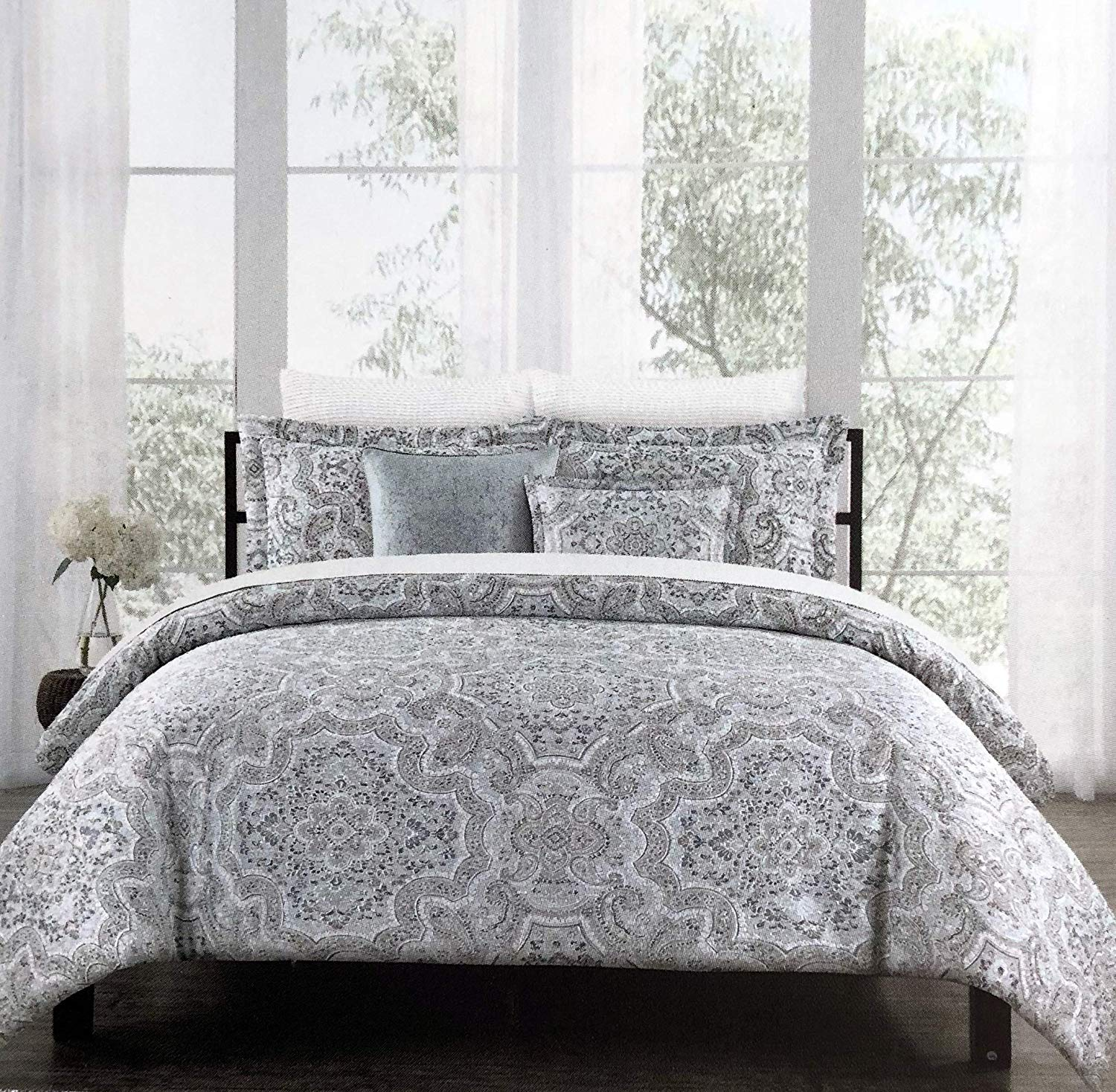 artistic accents bedding piece full queen size duvet tablecloth comforter cover set intricate geometric medallion pattern shades purple white taupe door cabinet silver and table