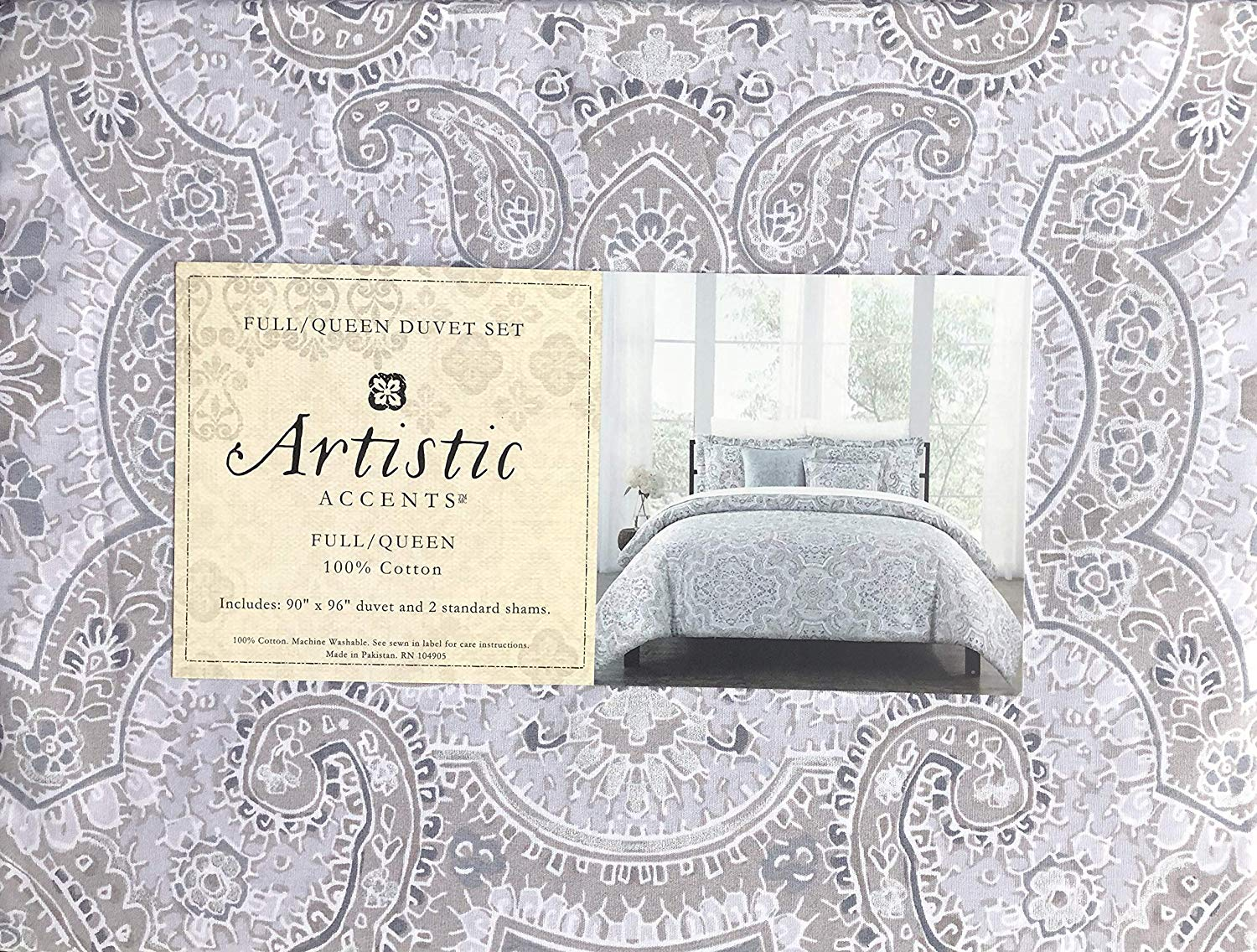 artistic accents bedding piece full queen size duvet tablecloth comforter cover set intricate geometric medallion pattern shades purple white taupe door cabinet table for lamp