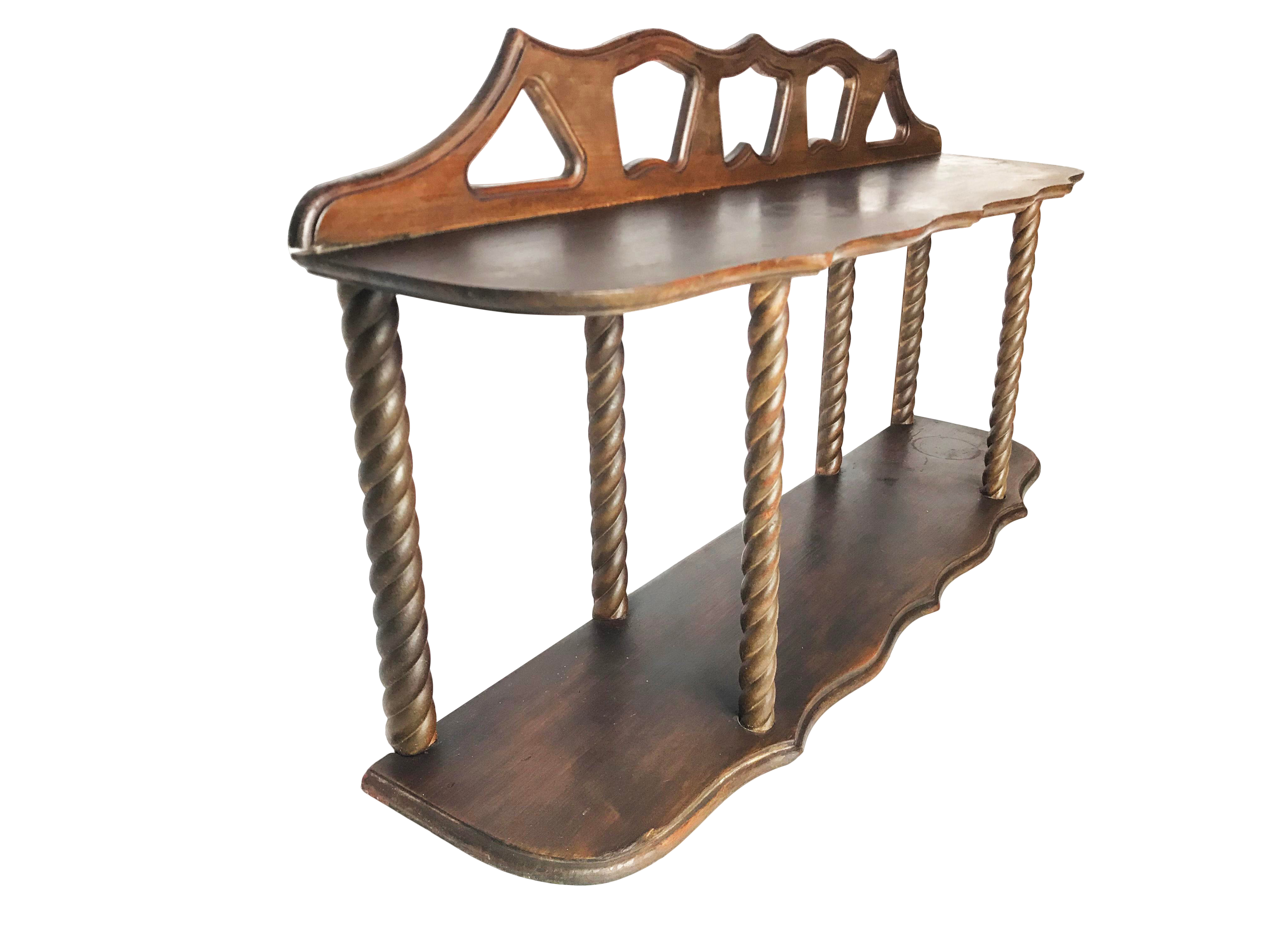 arts and crafts hand made solid wood spindle two tier hanging wall shelf accent table chairish antiques roadshow dale tiffany lamp set chairs round mats contemporary glass side