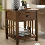 arts and crafts mission side table with charging station plowhearth accent tables oak gold mirror champagne mirrored furniture pineapple lights top bedroom end vintage french 150x150