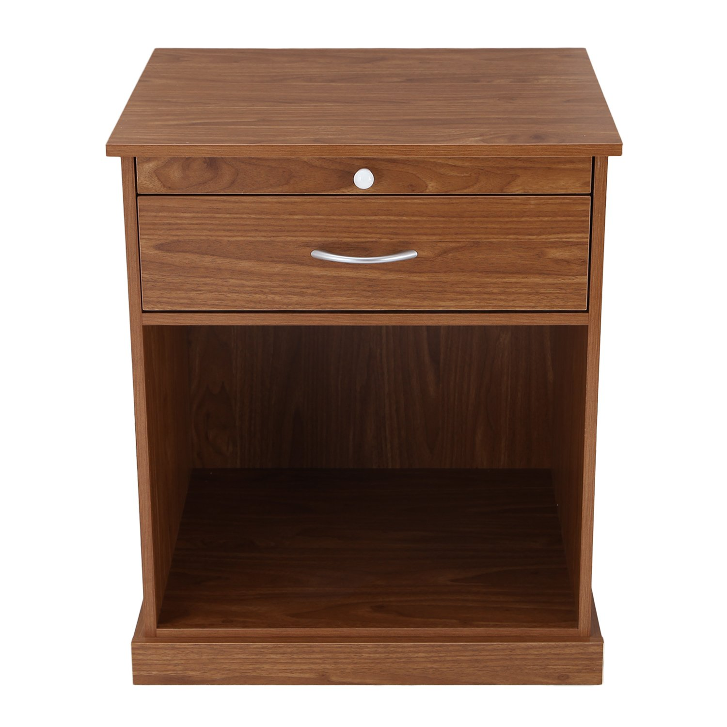 asense height wood square accent end table with wooden display drawers nightstands living room brown home kitchen outside patio chairs round tops side furniture barn door