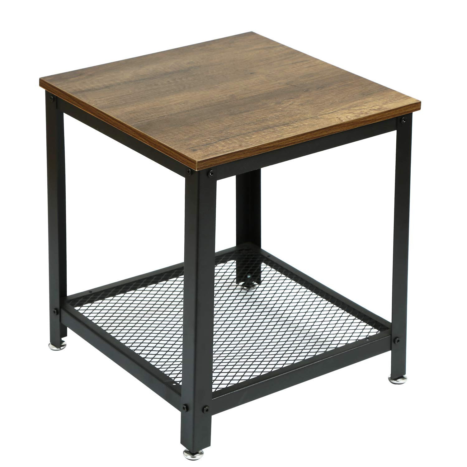 asense side table tier with storage shelf accent wooden top sturdy metal frame height inches kitchen dining solid wood coffee and end tables small glass chairs antique round lamp