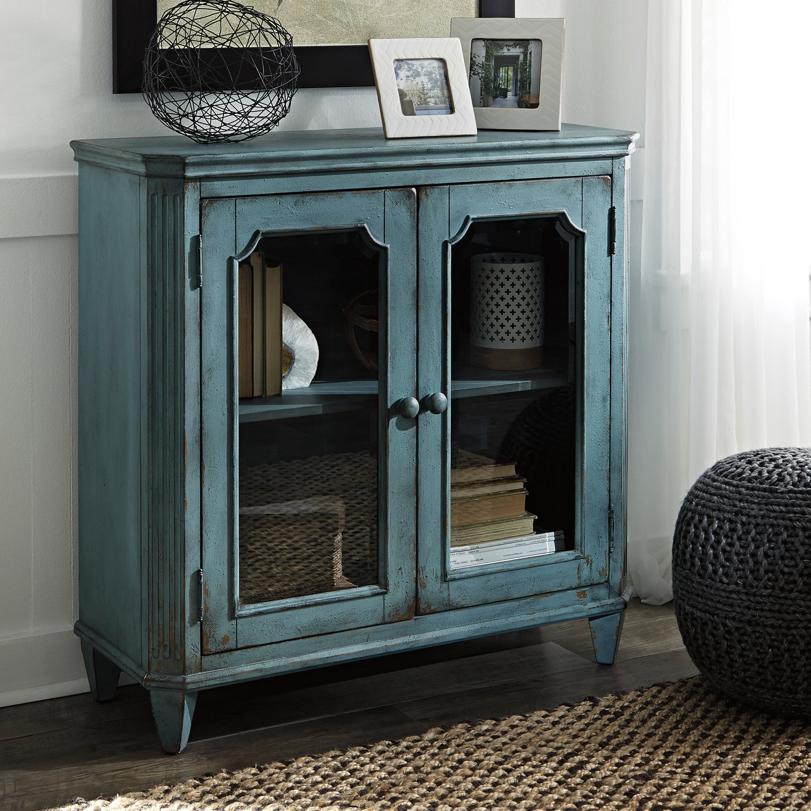 ashley furniture mirimyn antique teal accent cabinet with framed table glass doors outdoor umbrella cantilever west elm owl lamp small side chairs for living room marble look