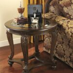 ashley furniture norcastle round end table dark brown new home accent crystal prism lamp fitted nic covers inch legs linens for pottery barn dining room sets square glass gold 150x150