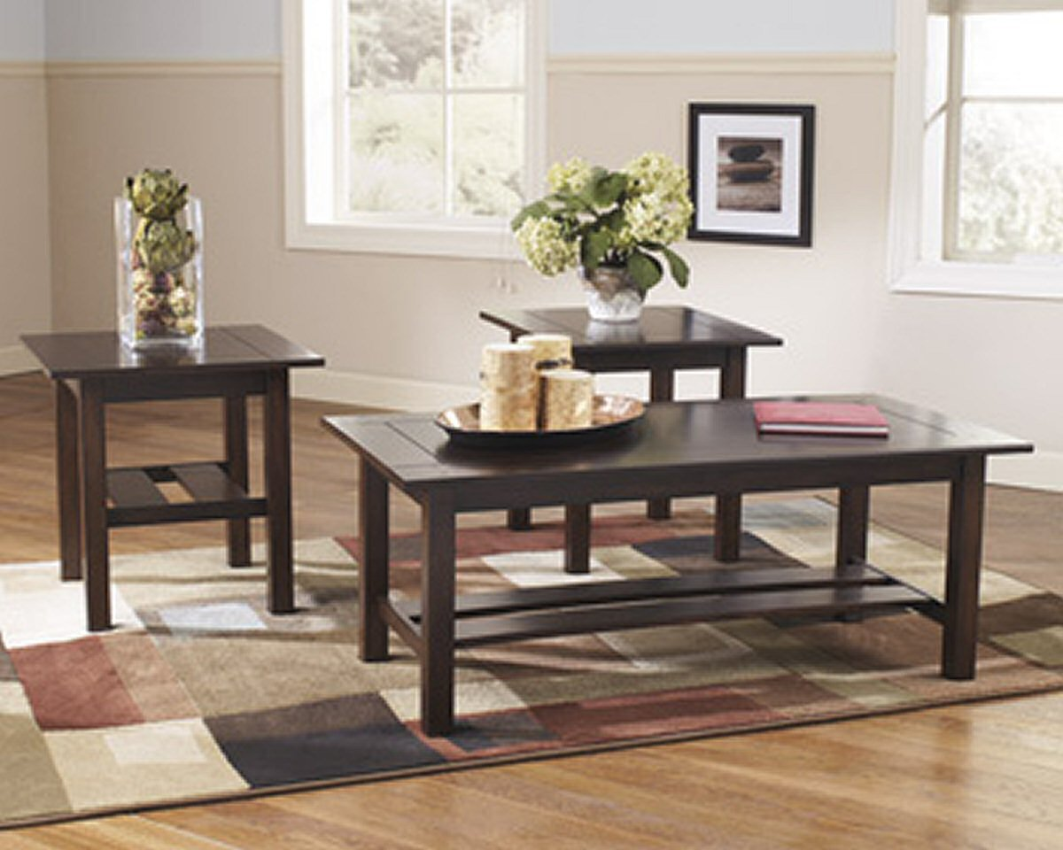 ashley furniture occasional table set lewis xsll accent tables medium brown kitchen dining long trestle wellington credenza behind sofa christmas tablecloth nautical sconces