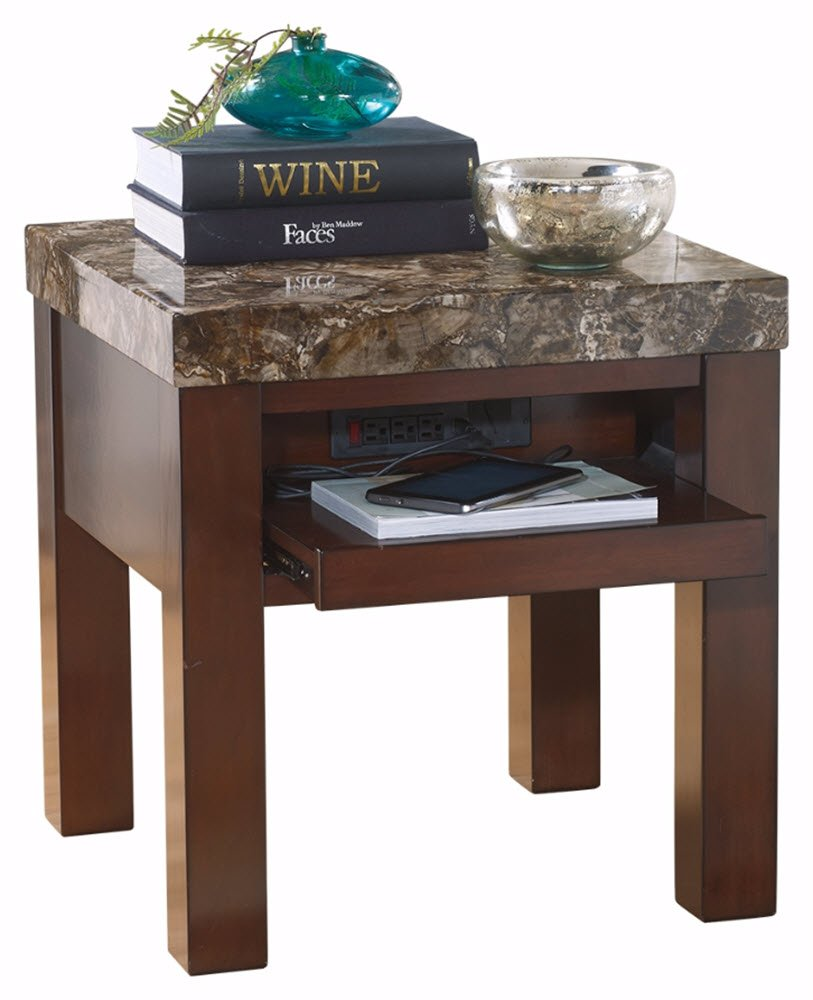 ashley furniture signature design kraleene end table accent with usb port pull out tray ports contemporary dark brown kitchen dining small grey coffee chestnut carpet tile trim
