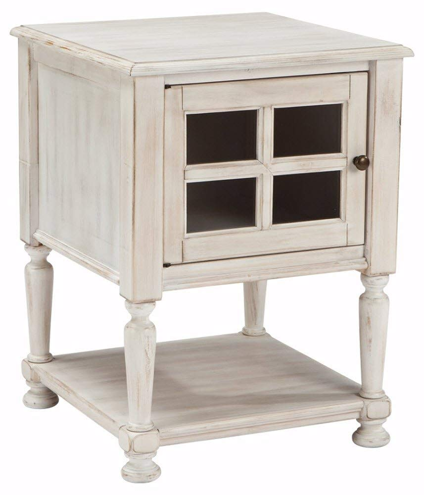 ashley furniture signature design mirimyn chair side farmhouse style accent table end cottage chipped white kitchen dining leather trunk room and board rugs wicker mini bedside