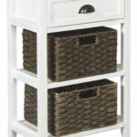 ashley furniture signature design oslember storage accent table wicker includes brown removable baskets antique white finish hope you actually like our mirrored cube side black 150x150