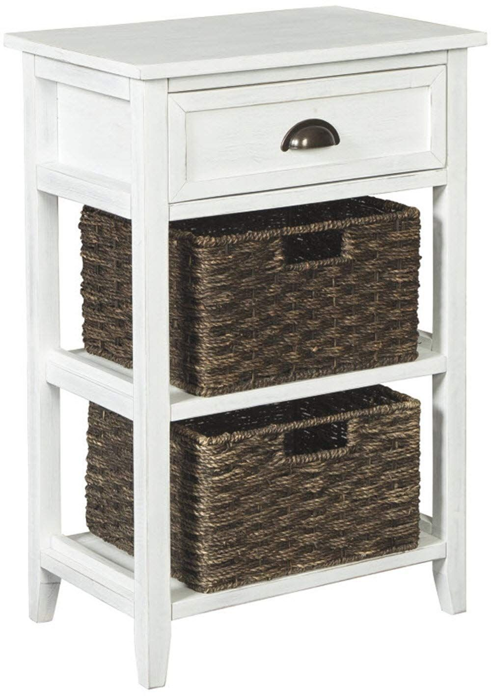 ashley furniture signature design oslember storage accent table with baskets includes brown removable antique white finish hope you actually like our octagon outdoor coffee cover