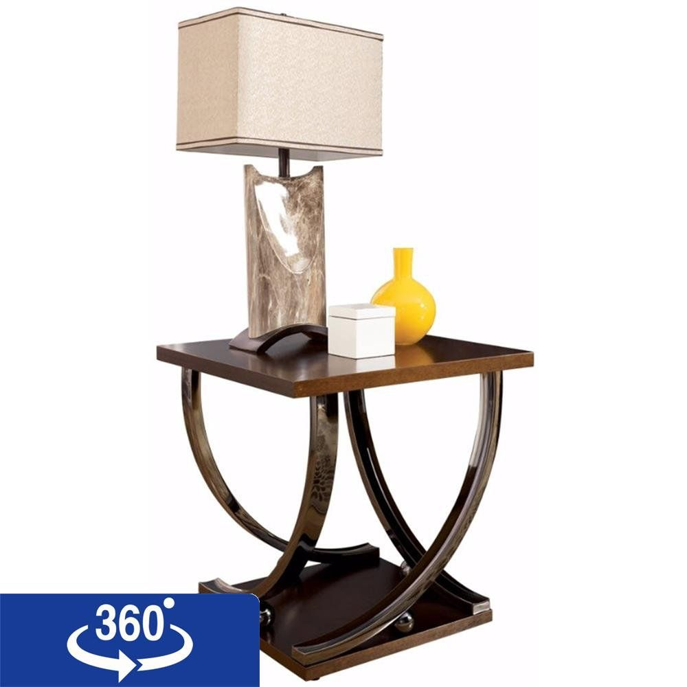ashley furniture signature design rollins end table contemporary dark brown accent style with chrome base check out the visiting link narrow small entry large shade umbrella