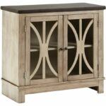 ashley furniture signature design vennilux doors accent table with glass inserts vintage casual bisque kitchen dining wooden home decor half moon end tables desk drawers black 150x150