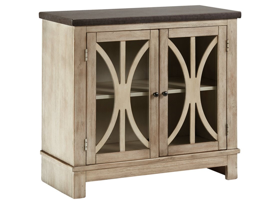 ashley furniture signature design vennilux doors accent table with glass inserts vintage casual bisque kitchen dining wooden home decor half moon end tables desk drawers black