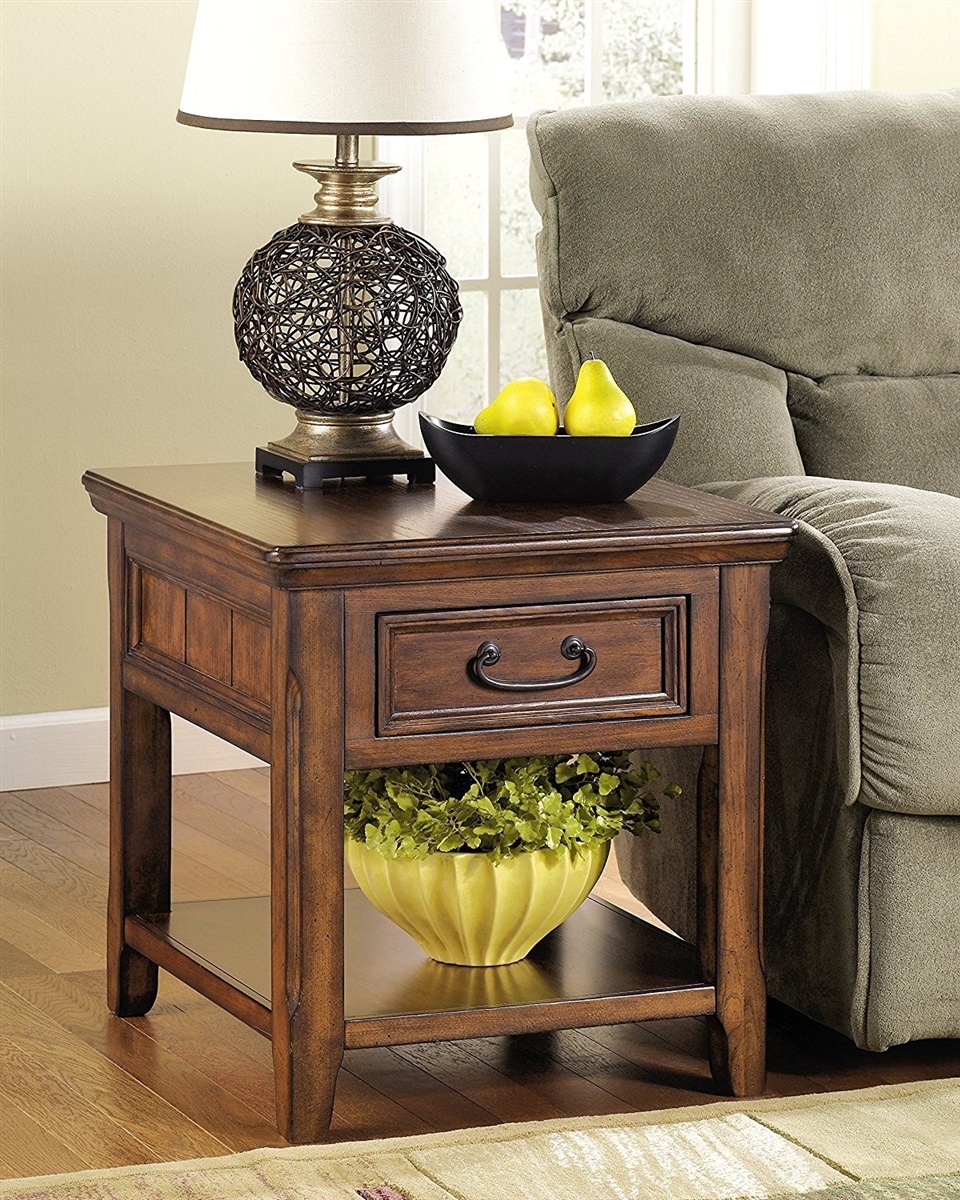 ashley furniture signature design woodboro chair side end table accent square rustic style dark brown farm trestle dining marble top pub set metal replica timber brisbane buffet