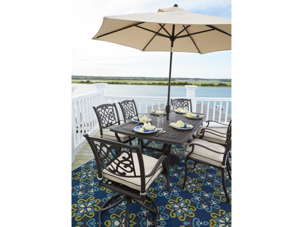 ashley signature design burnella outdoor dining set umbrella products color threshold accent table burnellaoutdoor stacking coffee tables console furniture small narrow teal