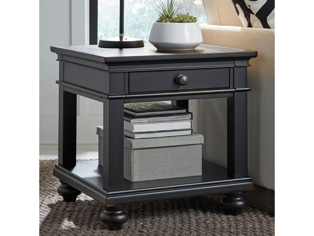 aspenhome oxford one drawer end table with turned feet homeworld products color blk wood accent threshold furniture tables rubber carpet edging trim tiffany style coca cola