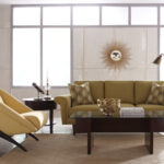 astonishing modern living room charirs tan faux leather unique accent chair classic yellow sofa clear glass top coffee table round end brass arc floor lamp alluring mid century 150x150