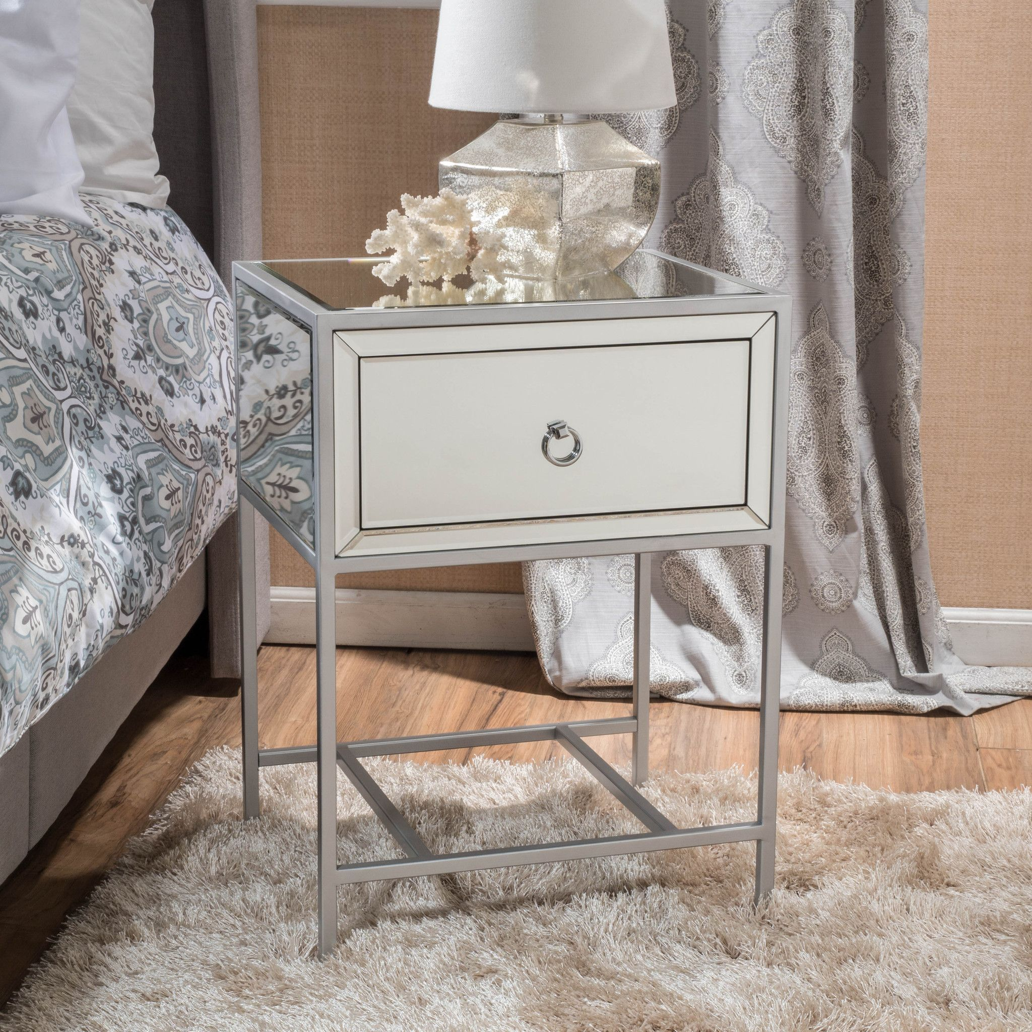 athena mirrored silver drawer side table bedroom faves accent tables with matching mirrors unique end modern round pedestal dining room patio umbrella pier one chairs nightstand
