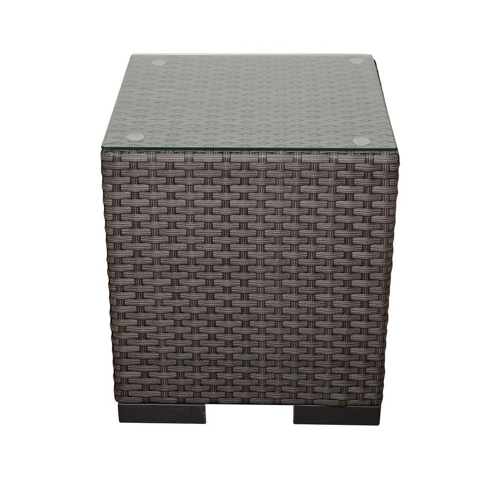 atlantic bellagio grey wicker patio side table pli bellside the outdoor tables turquoise accent pieces marble top coffee with drawers bar cart wine rack pubg settings nightstand