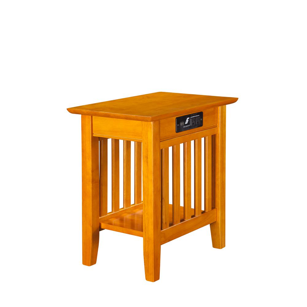 atlantic furniture mission caramel chair side table with charging end tables accent station pub bar long nightstand extra thin console west elm outdoor pillows decorative accents