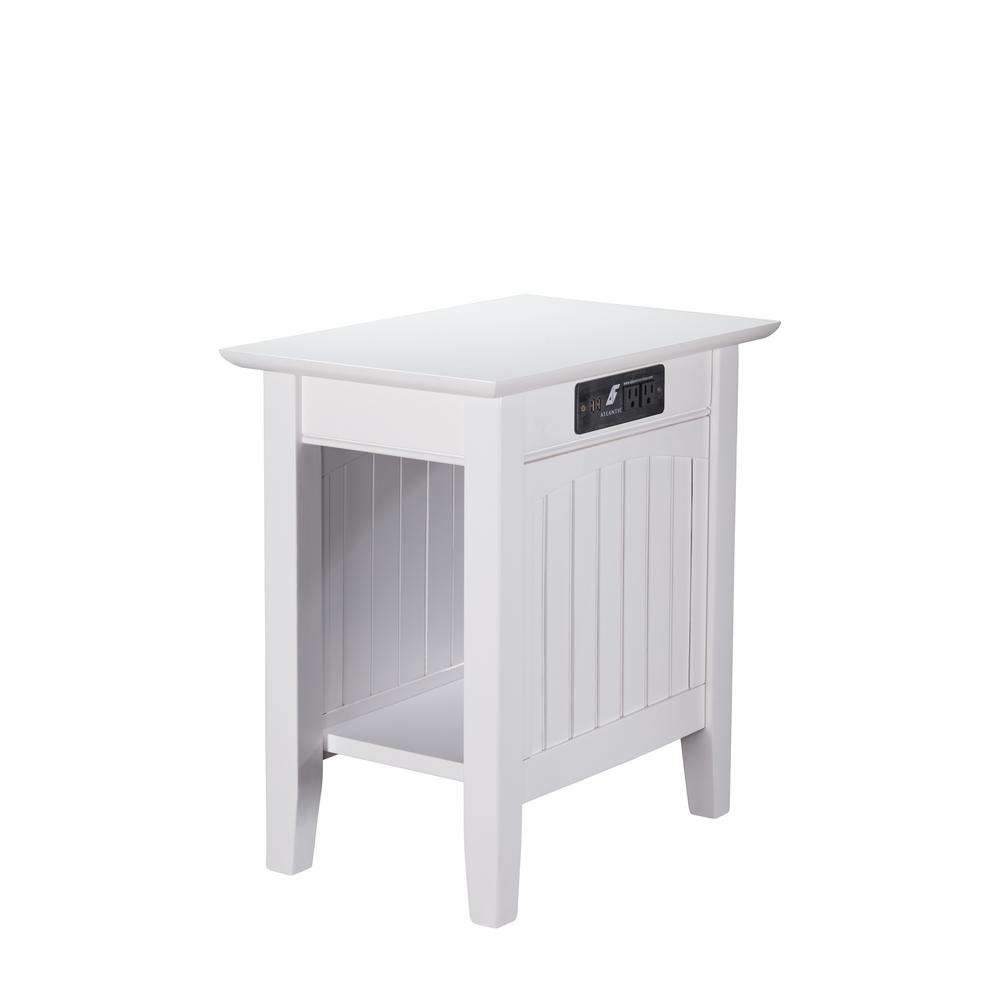 atlantic furniture nantucket white chair side table with charging end tables accent station top ashley chairside modern mats living room cabinet half moon mirrored console oak