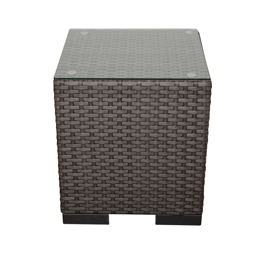 atlantic modena grey synthetic wicker square side table with glass top outdoor tempered white mirrored metal pedestal base flip currey and company small wood nightstand brass