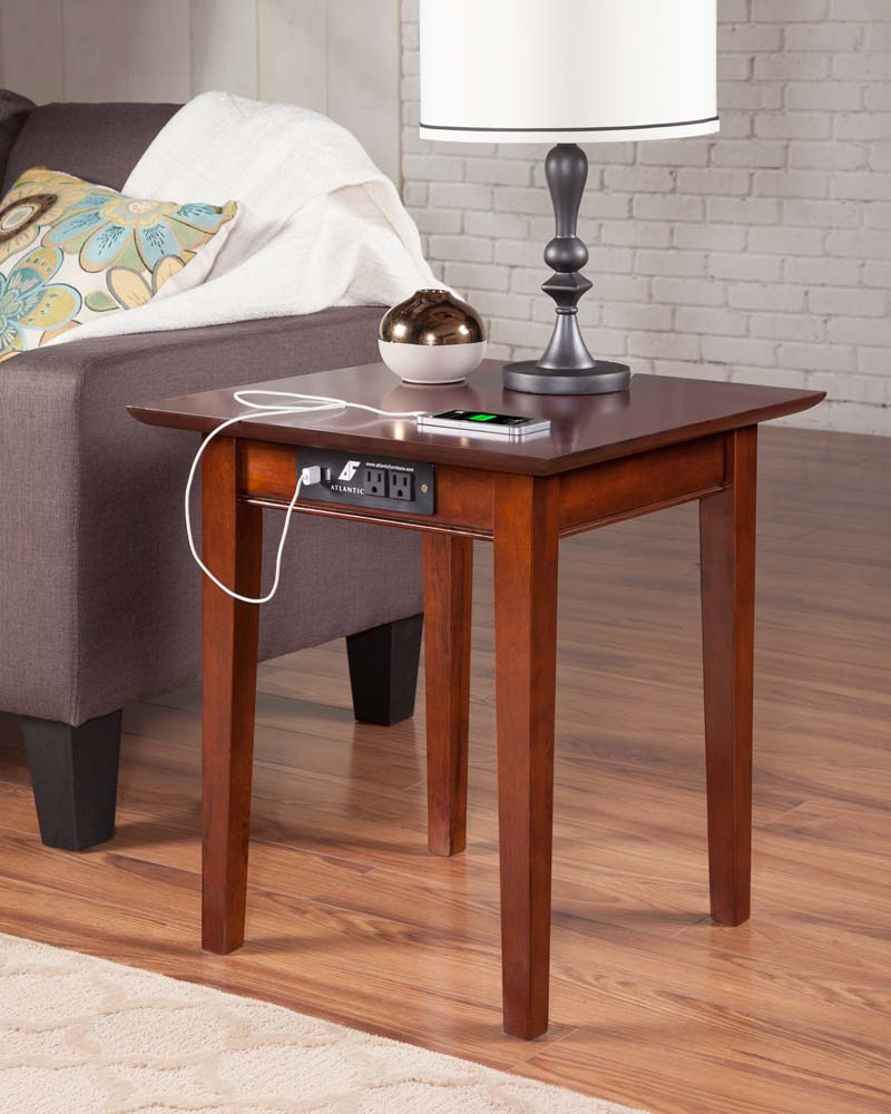 atlantic shaker end table with charger walnut accent usb port christmas runner quilt patterns wood and metal small grey coffee low round lamps under marble outdoor stools gallerie