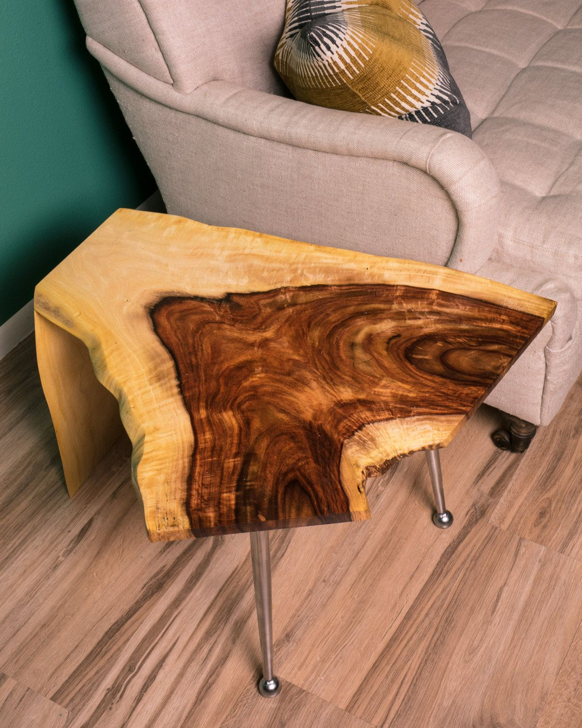 atomic rosewood waterfall live edge end table mezquite accent mid century modern made from repurposed vintage chromecraft sputnik space age style legs mounted slab reclaimed local