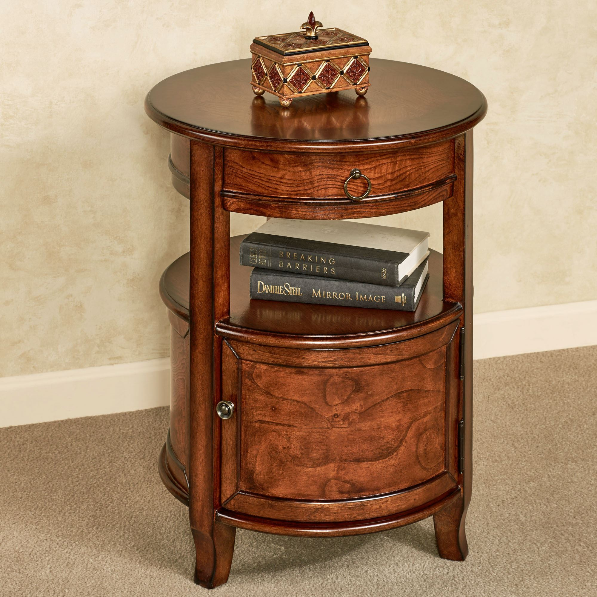 attic heirlooms the outrageous awesome small accent end tables furniture side table round with shelf corner entry black metal circle decorative bedside dark brown rustic coffee