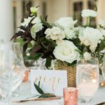 attractive contemporary centerpiece elegant and private country club wedding with white bloom rose gold accent for dining table coffee christma floral room vintage inch percussion 150x150