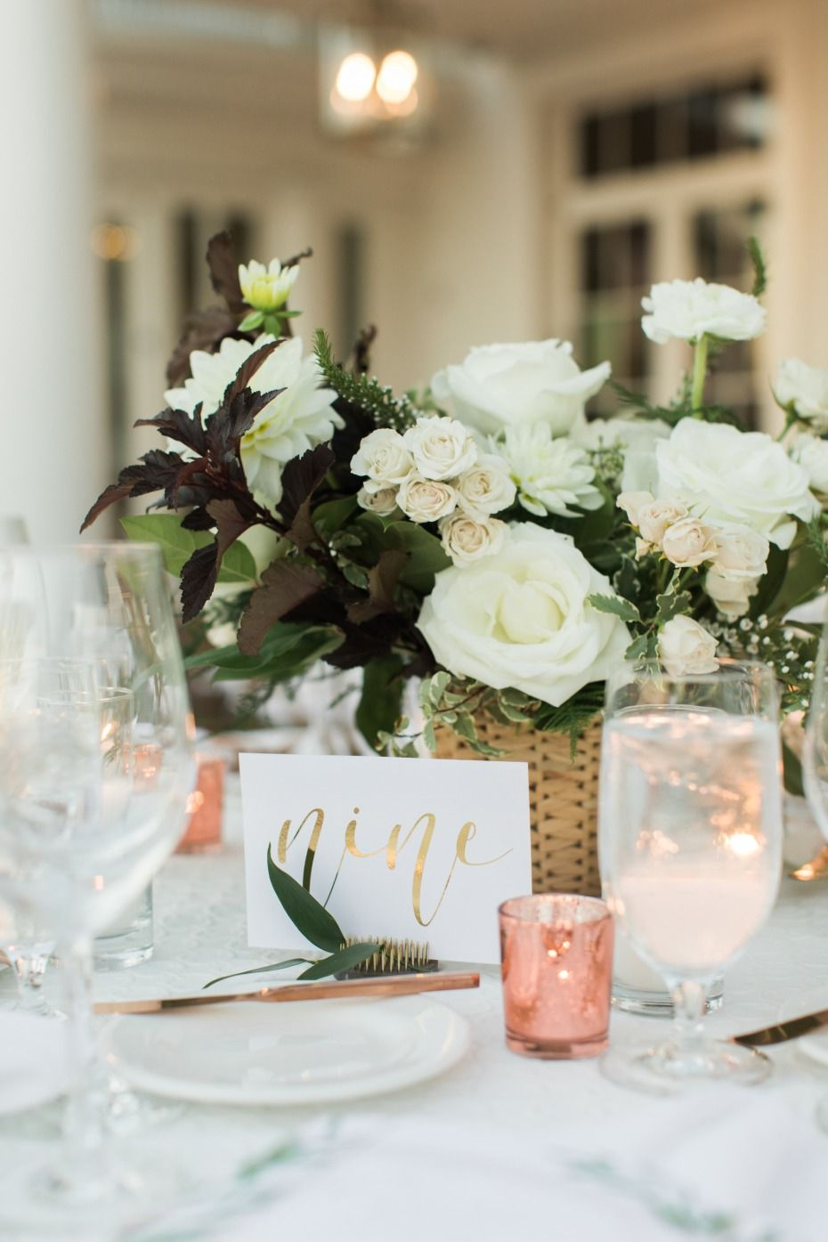 attractive contemporary centerpiece elegant and private country club wedding with white bloom rose gold accent for dining table coffee christma floral room vintage inch percussion