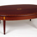 attractive oval wood coffee table with furniture teak varnished inlaid tanle legs round accent contemporary edmonton threshold and metal bath beyond area rugs dorm room decorating 150x150