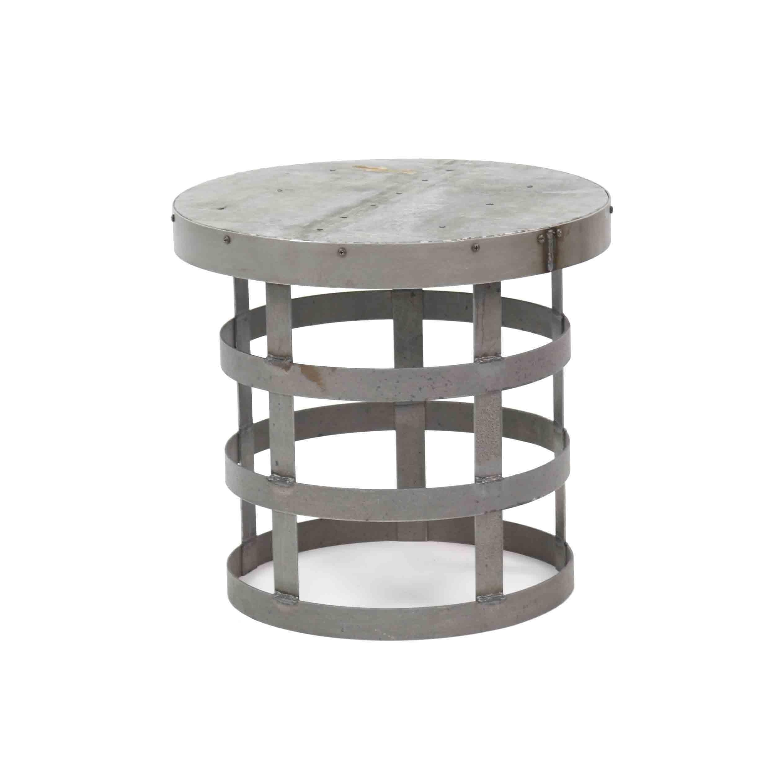 attractive round metal accent table with small occasional side tables iron teal kitchen decor bath and beyond ice cream maker large coffee storage reclaimed wood nesting