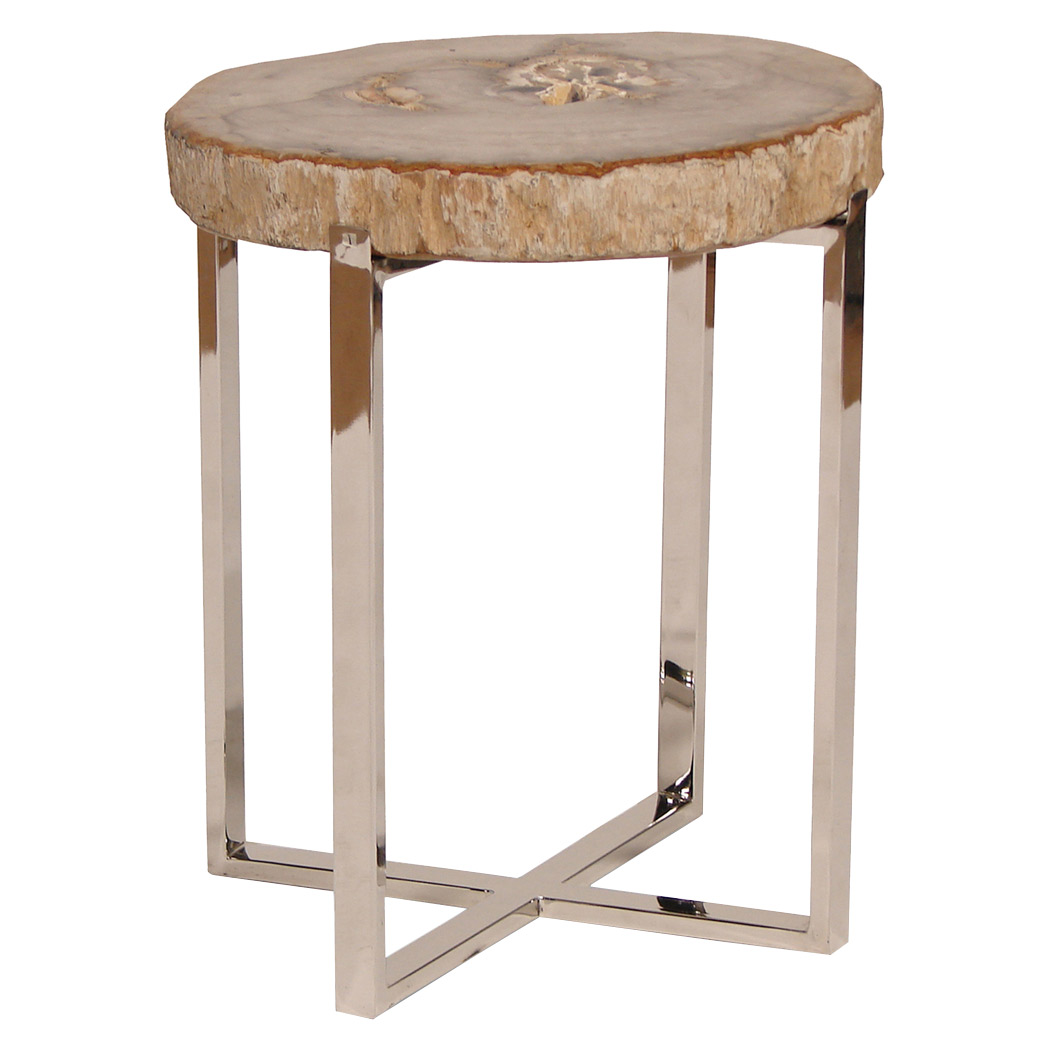 attractive wood accent table with palecek sliced petrified small rustic outdoor garden chairs nautical lighting indoor clear lucite industrial end unfinished round modern square