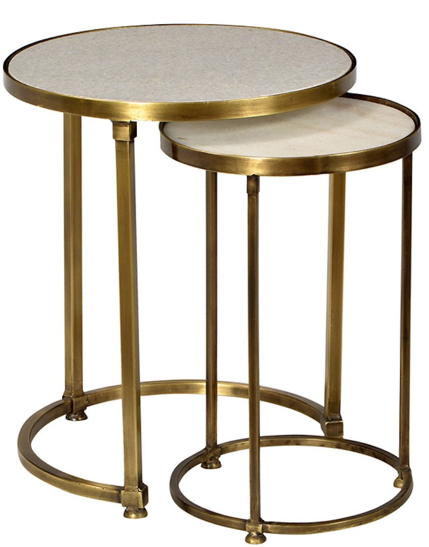 audrey marble and antiqued brass side table set mortise tenon round vintage bronze hourglass accent pier mirrored furniture west elm purple placemats napkins outside cover pouf