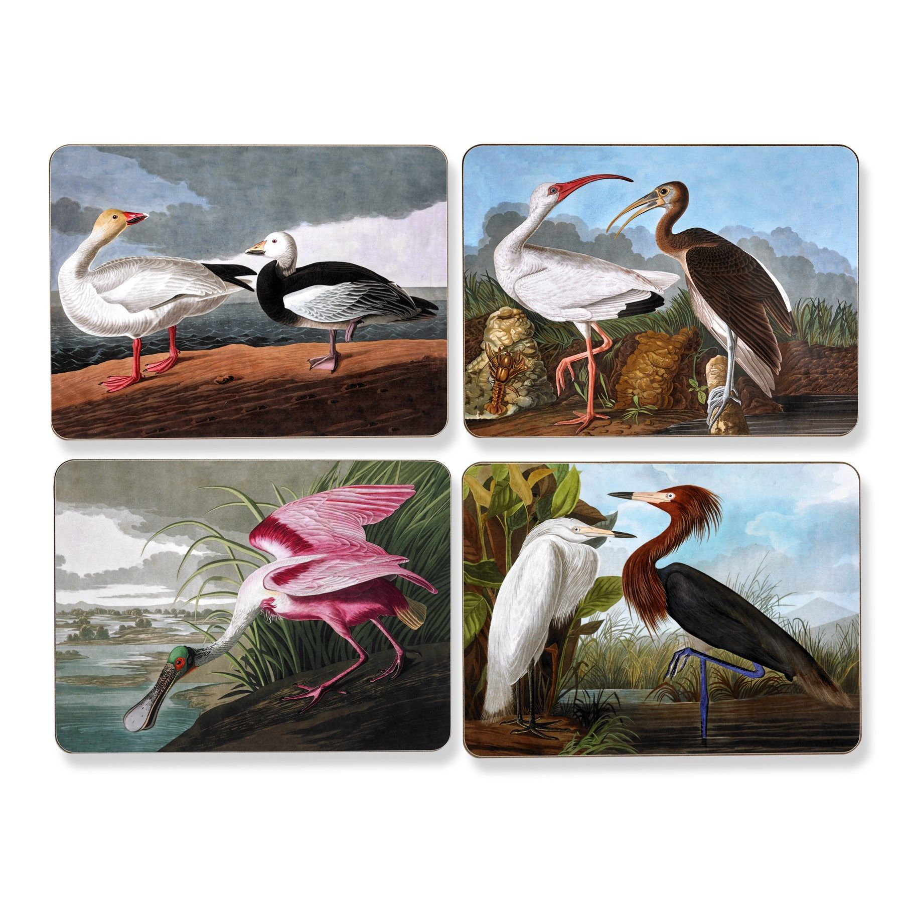 audubon vintage birds mats and coasters placemats table accent placemat accents tabletop scullyandscully mid century small triangle bathroom styles ikea square clearance tiffany