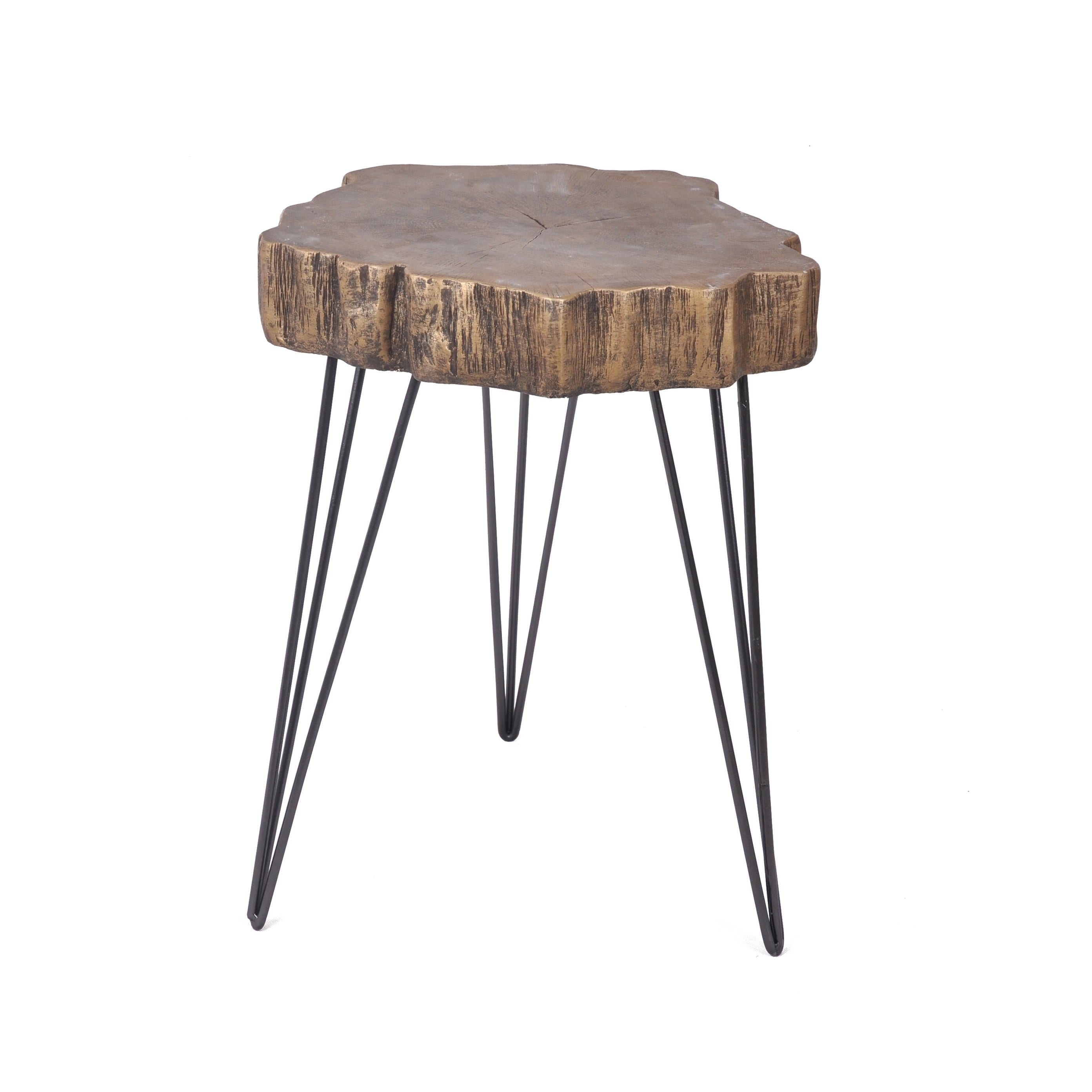 aurelle home live edge modern gold magnesium oxide accent table free shipping today beach chairs bunnings metal and wood round center cover inch silver occasional outdoor