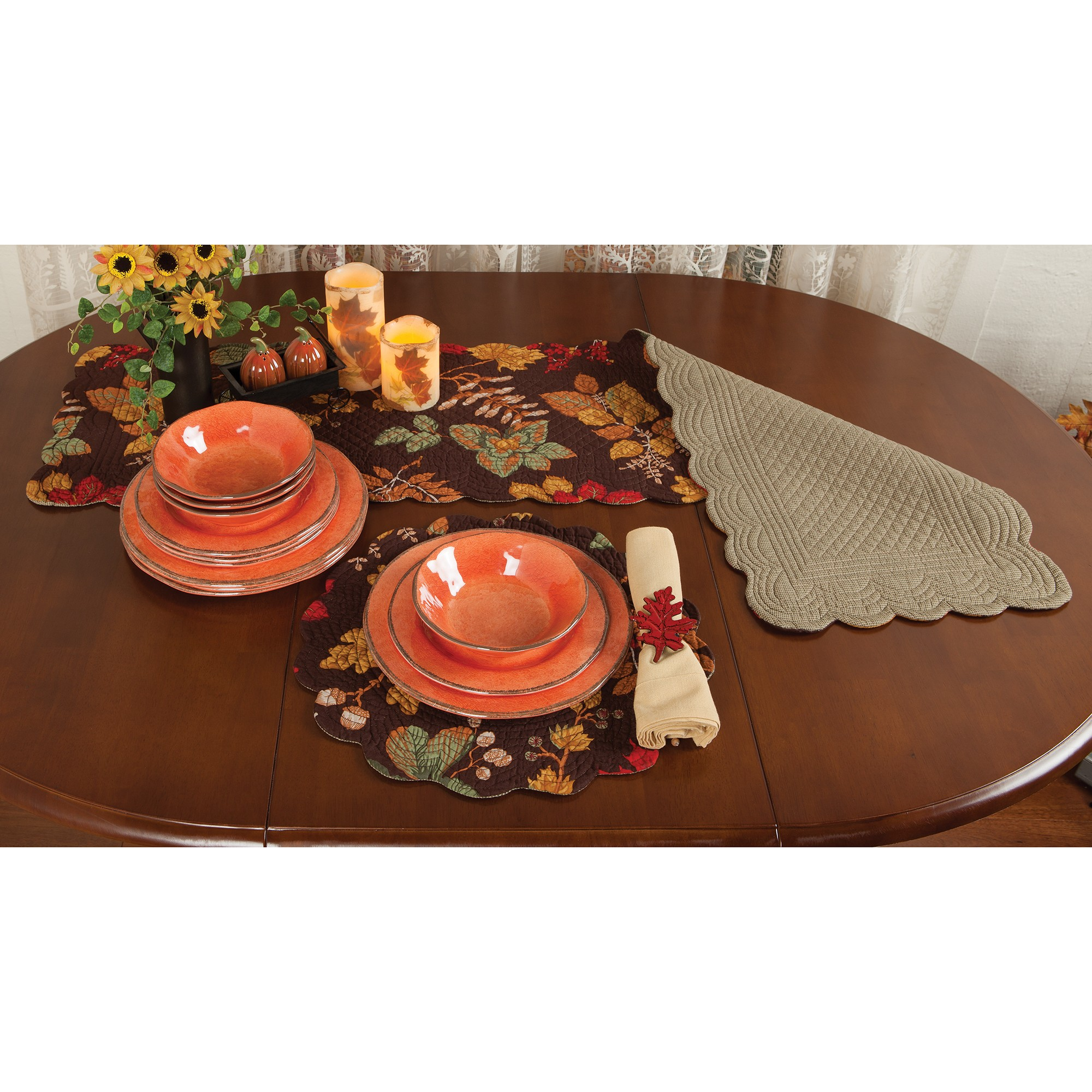 autumn festivities tabletop accents sturbridge yankee work placemat and runner table accent wood end plans round glass dining set kitchen island gold triangle white washed tables