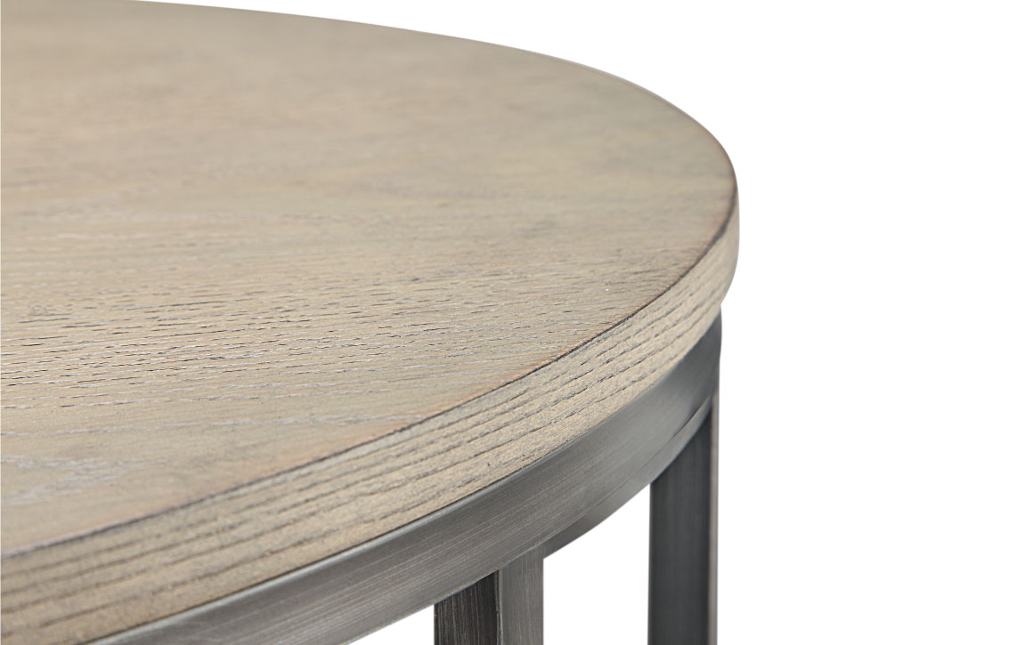 avalon round cocktail table chervin furniture design industrial details accent detailed shot wire brushed white oak veneer and gun metal finish blue end decoration pieces for