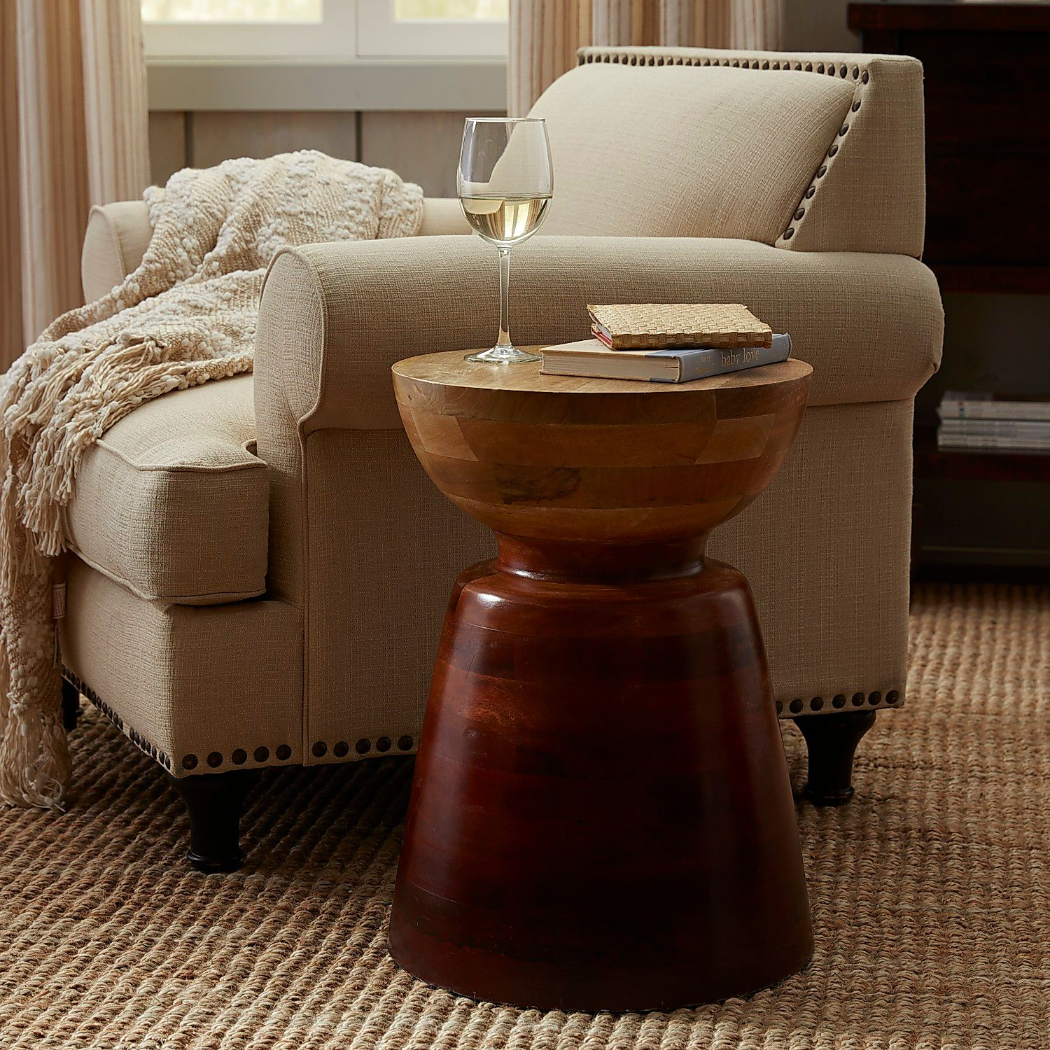 avani mango wood drum accent table pier imports large gazebo next living room furniture inch round vinyl tablecloth top ideas white marble bedside astoria patio set one wicker